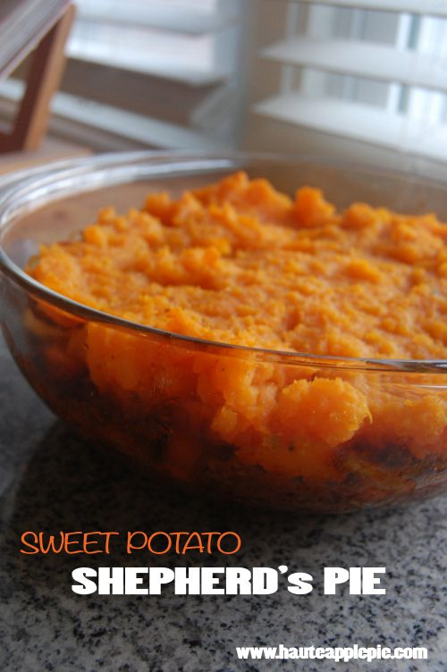 Sweet Potato Shepherd's Pie via Haute Apple Pie #comfortfoodfeast