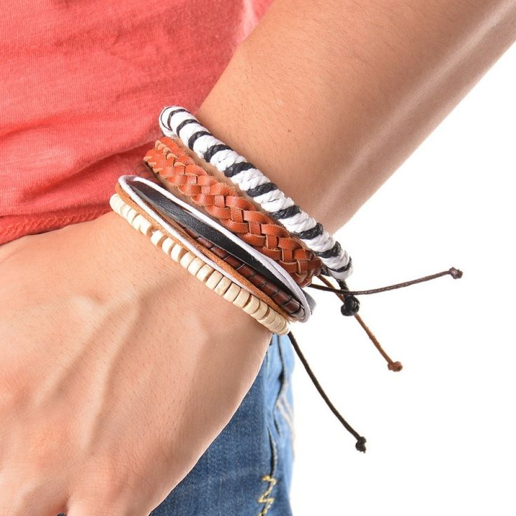 4-6PC Vintage Multilayer Leather Bracelet For Men Fashion Braided Handmade Rope …   – Jewelry