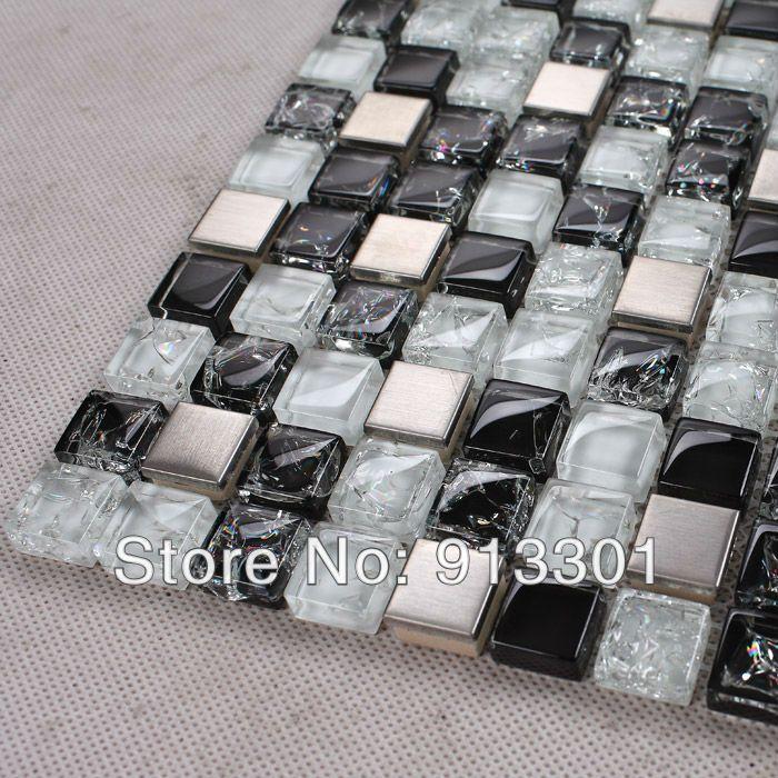 Glass Tile Backsplash Inner Crack Crystal Glass And Stainless Steel Blend Metal Kitchen Backsplash Bathroom Wall
