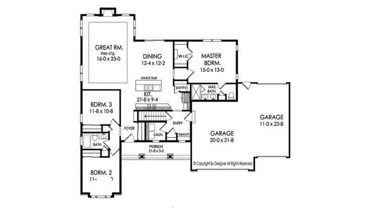 472 best images about retirement ranches on pinterest for One story retirement house plans