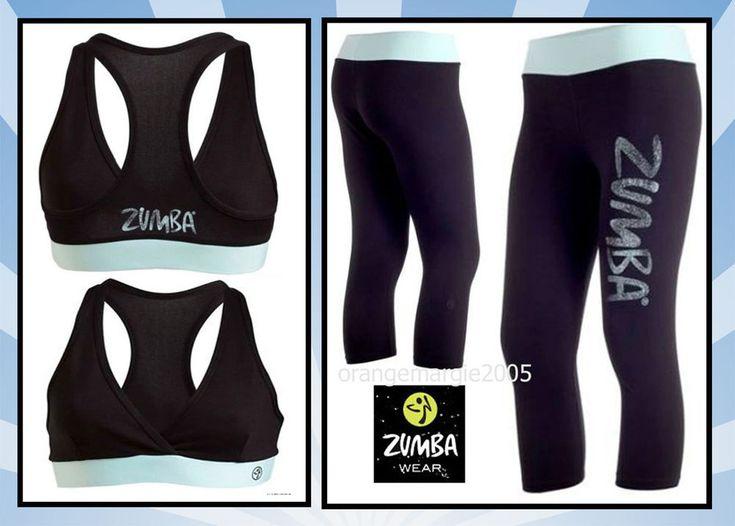 ZUMBA 2Pc.Set! Galaxy Capri Leggings + V Bra Top Black/Baby Blue-Yoga Cycle Run  #ZumbaZumbaFitness #PantsTightsLeggingsCapriCapris