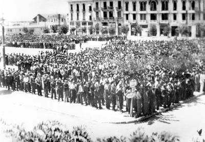 Salonika, Greece, Jewish Men Standing under the Scorching Sun in Liberty Square