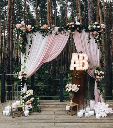 Cute altar for a rustic meets shabby chic wedding