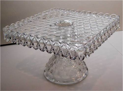 square FOSTORIA American crystal clear glass Pedestal Cake Plate Stand & 26 best CAKE PLATES images on Pinterest | Cake plates Cake stands ...