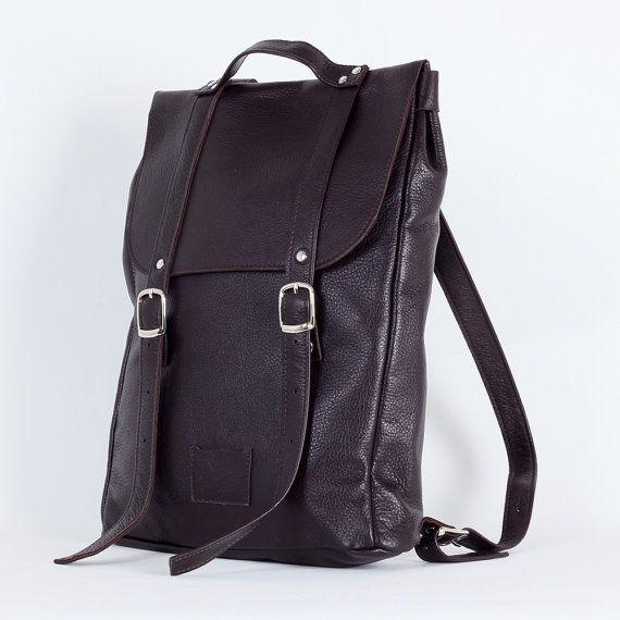 Chocolate brown  middle size leather backpack rucksack / genuine leather minimalist backpackrucksackkokosinasimple backpackknapsackback to school leather rucksack women woman girls gift