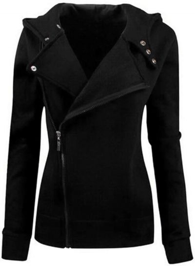 Women's Casual Solid Color Slim Fit Zip up Hoodie Jacket OASAP.com