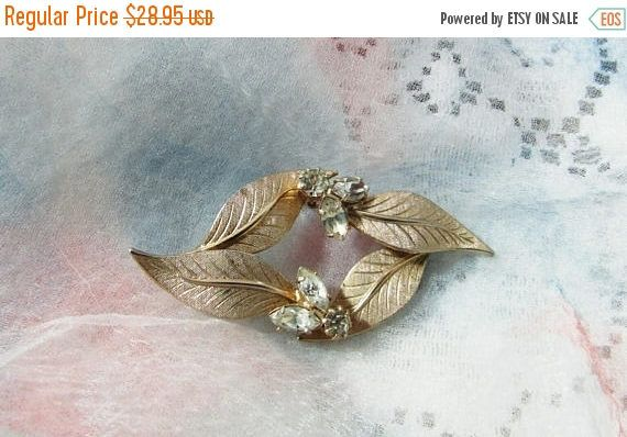 Holiday Sale Gold Tone Leaves Brooch, Pin, Clear Marquis Rhinestones, Autumn, Fall, Bridal Bouquet Accent, Scarf, Sweater, Lapel, Mid Centur