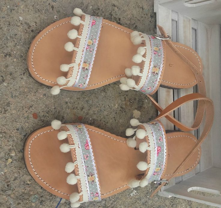 boho/romantic sandals/ leather/handmade/ponpon/ floral/ summer 2016/Greece/K.ompo.S