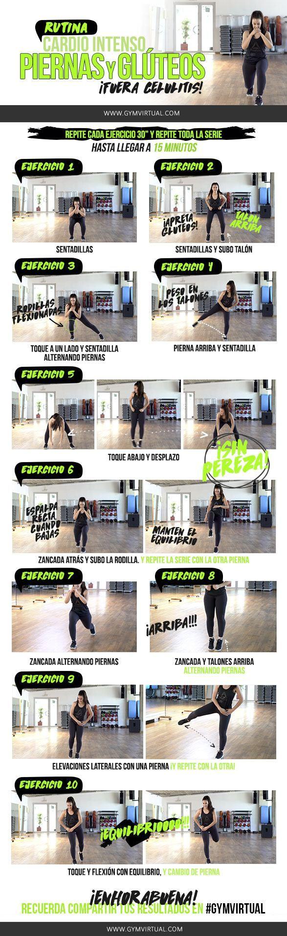 Hoy os traigo una rutina de cardio intenso, piernas y glúteos paso a paso :) Vamos a combinar ejercicios de sentadillas y otros ejercicios.