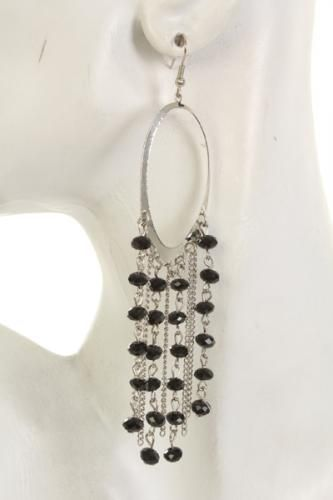 Silver Black High Polish Metal Hoop Beaded Chain Earrings