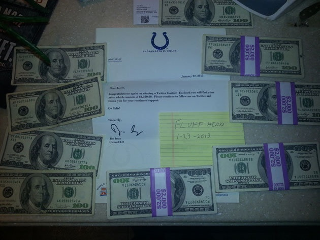 Colts owner sent 8,500 dollars to a (Phish) fan who guessed the correct Ravens-Pats score