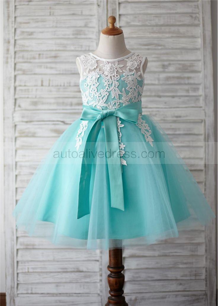 Turquoise Tulle Ivory Lace V Back Knee Length Flower Dress