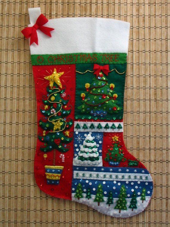 Completado Bucilla Navidad medias O árbol de Navidad
