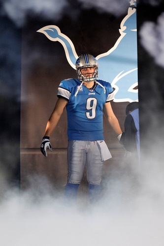 DETROIT, MI - NOVEMBER 24:  Quarterback Matthew Stafford #9 of the Detroit Lions is introduced before taking on the Green Bay Packers during the Thanksgiving Day game at Ford Field on November 24, 2011 in Detroit, Michigan.  (Photo by Gregory Shamus/Getty Images)
