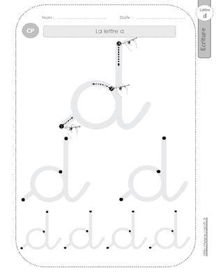 la lettre d au CP:FICHES d'ECRITURE. Modèles d'écriture