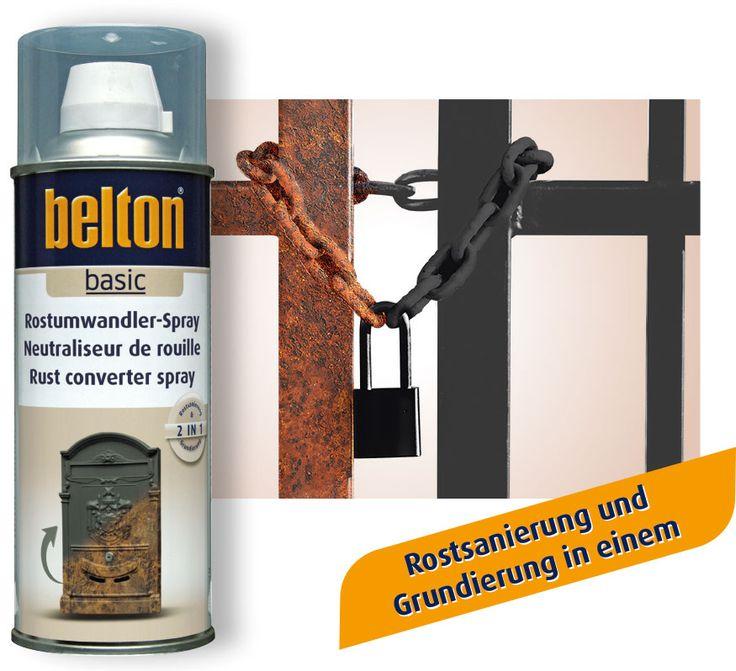 belton Rostumwandler-Spray. Rostsanierung und Grundierung in einem. // belton Rust converter spray. Rust remover and primer in one can.