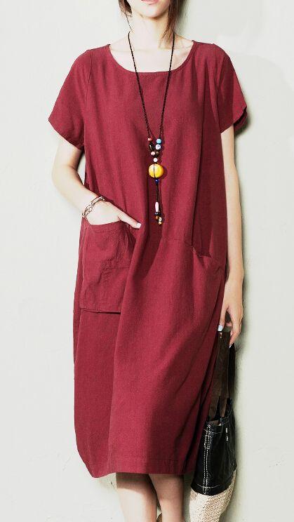 Burgundy maxi dress linen sundress