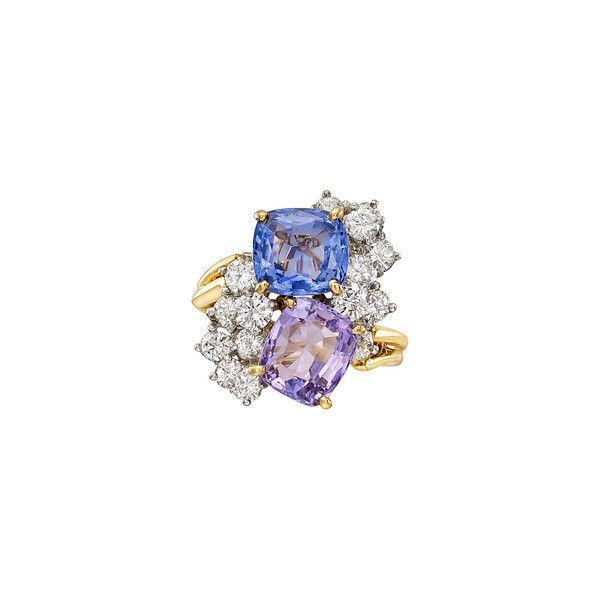 Oscar Heyman Multicolored Sapphire & Diamond Twin Ring ❤ liked on Polyvore featuring jewelry, rings, gold diamond band ring, circle diamond rings, purple diamond ring, purple sapphire ring and multi colored sapphire ring