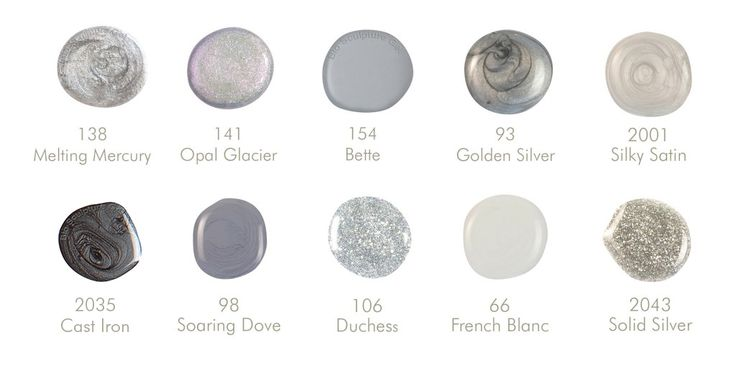 Bio Sculpture Gel :10 Shades of Grey ~138 Melting Mercury, 141 Opal Glacier, 154 Bette, 93 Golden Silver, 2001 Silky Satin, 2035 Cast Iron, 98 Soaring Dove, 106 Duchess, 66 French Blanc, 2043 Solid Silver