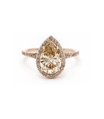 "Sofia Kaman Fine Jewels - Pear Shape Champagne Diamond ""Bellini"" Ring, $10,400.00 (http://www.sofiakaman.com/Pear-Shaped-Champagne-Diamond-Solitair-and-Champagne-Diamond-Halo-Rose-Gold-Band-One-of-A-Kind-Engagement-Ring/)"