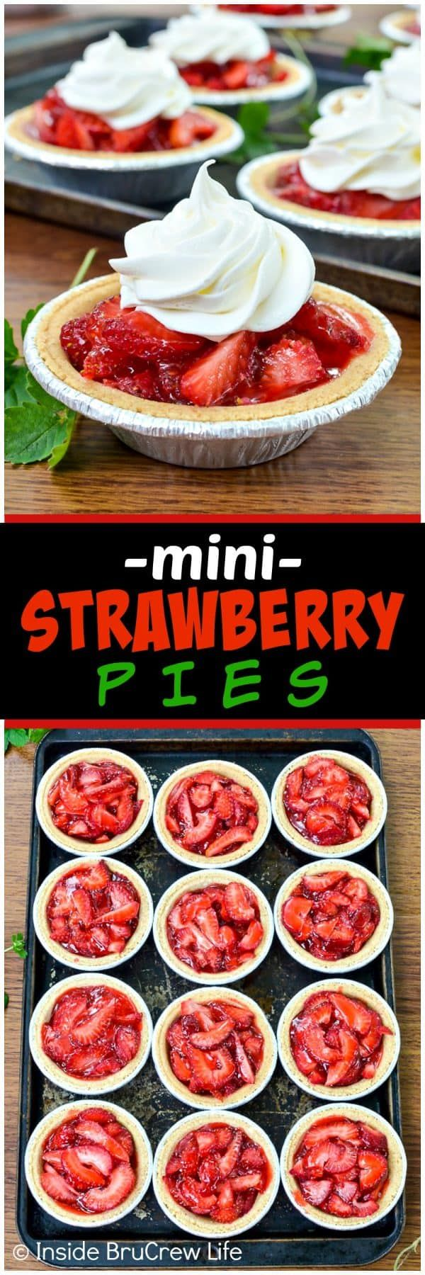 Mini Strawberry Pies - little graham cracker crusts filled with fresh strawberries and strawberry Jello makes a great little dessert for any occasion. Make this easy recipe for spring and summer parties or picnics! #strawberry #pie #grahamcrackercrust #minidesserts #summer #mothersday #easy #recipe #fourthofjuly