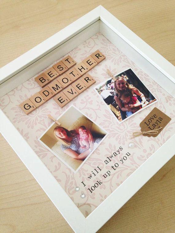 Personalised godmother scrabble photo frame gift- godfather, godparent