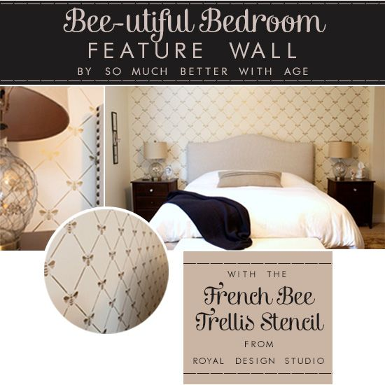 beautiful stenciled bedroom wall with the french bee trellis stencil from royal design studio