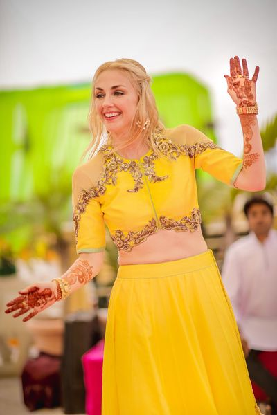 Indian Blouses - Light Yellow Lehenga | Yellow Plain Lehenga with Cut-out Shoulder Blouse and Bronze Embroidery on Neck and Bodice #wedmegood #indianwedding #bride #bridal #cut-out #indianblouse #yellow