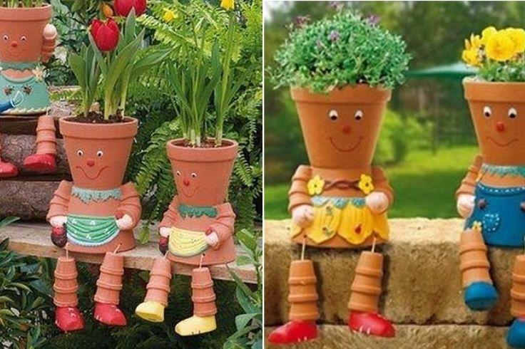 Fabriquer des personnages en pot de terre cuite terre - Decoration de terrasse avec pots de fleurs ...