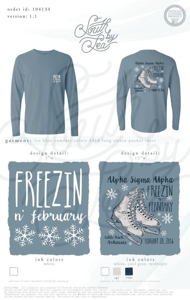 Alpha Sigma Alpha | Freezin' in February | Ice Skating T-Shirt | South by Sea | Greek Tee Shirts | Greek Tank Tops | Custom Apparel Design | Custom Greek Apparel | Sorority Tee Shirts | Sorority Tanks | Sorority Shirt Designs