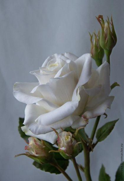 Купить роза с бутонами. флористическая полимерная глина - роза, роза ручной работы, красный, оранжевый