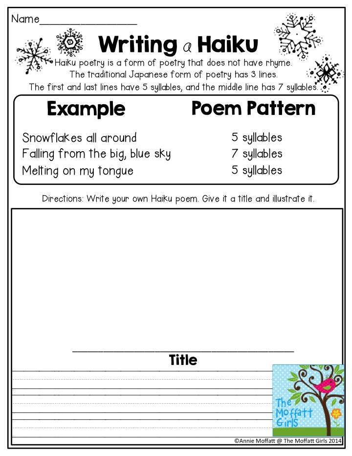 Writing a Haiku Poem- TONS of great activities for 2nd grade in the NO PREP Packets for January!