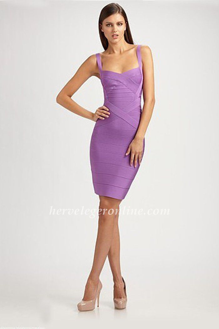 Light Purple Sleeveless Herve Leger Straps Bandage Dresses