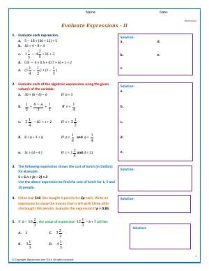Worksheet | Evaluate Expressions - II | Evaluate Expressions having all four operations and group of terms with parenthesis. Convert a word problem statement to an algebraic expression and evaluate.