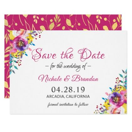 Bright Fuchsia Gold Flowers Spring Save The Date Card - wedding invitations diy cyo special idea personalize card
