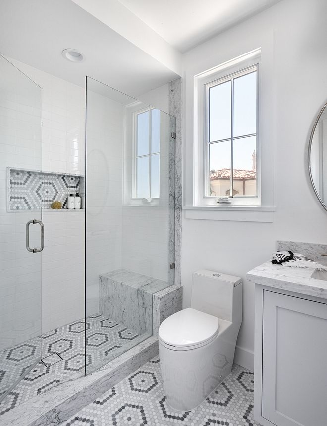 Shower Combines Classic White Subway Tile Carrara Marble Slab And A Marble Mosaic Tile On Floors And Niche California Modern Shower Remodel Bathrooms Remodel