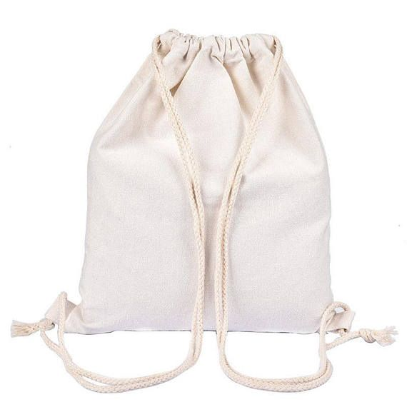 String Drawstring Backpack cotton Sack Gym Bag Canvas cinch
