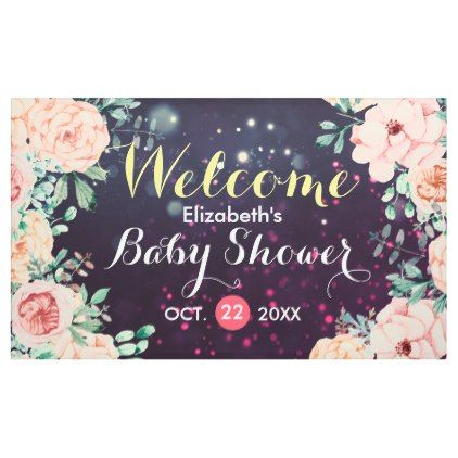 Baby Shower Welcome Banner Floral Purple Sparkle - floral style flower flowers stylish diy personalize