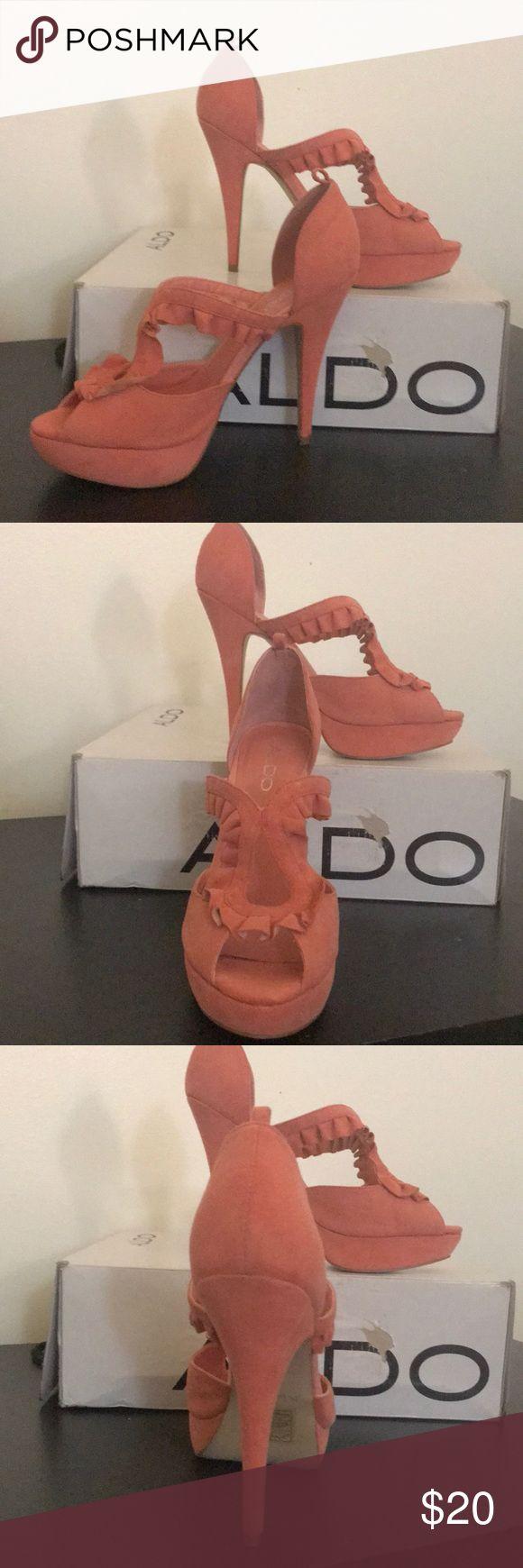 Aldo Starace peach heels, size 8. Aldo Starace peach heels, size 8. Ankle strap is missing. Aldo Shoes Heels