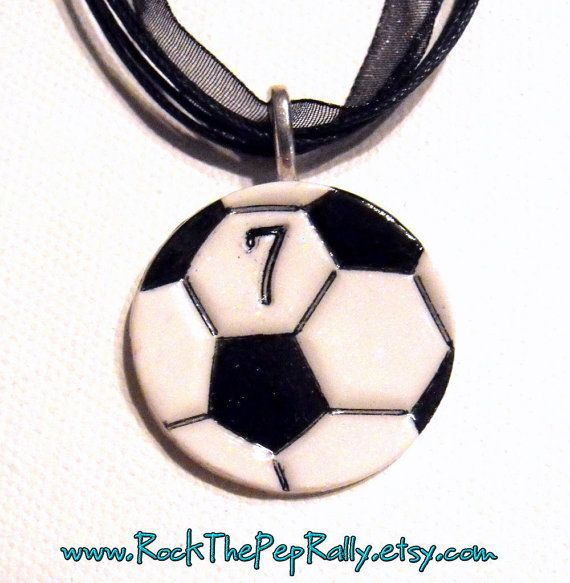 Soccer necklace with number