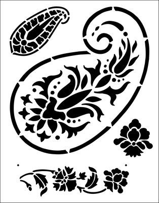 Paisley stencil from The Stencil Library BUDGET STENCILS range. Buy stencils online. Stencil code TP38.