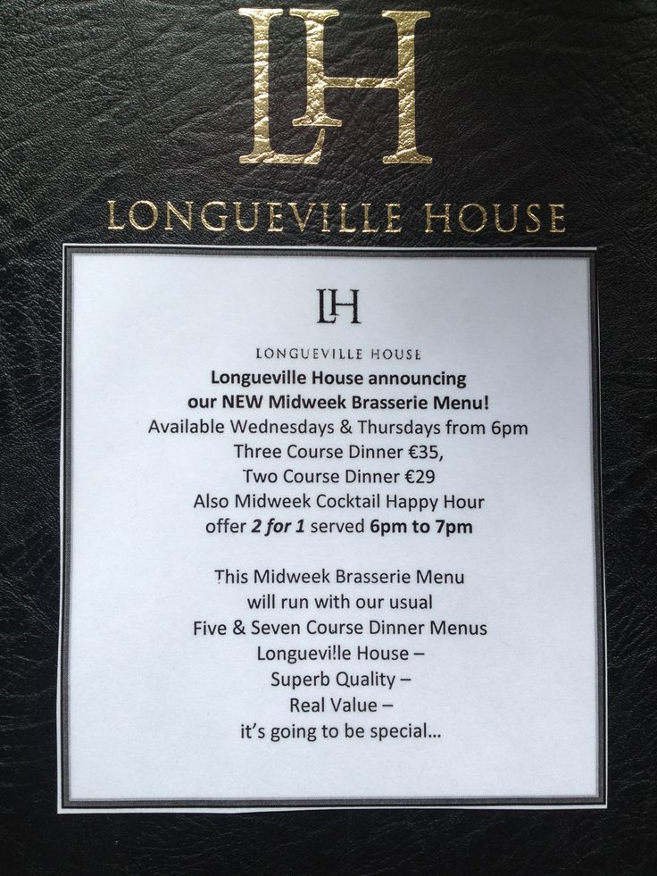 Our new Midweek Brassarie Menu, Wednesdays & Thursdays from 6pm at Longueville House