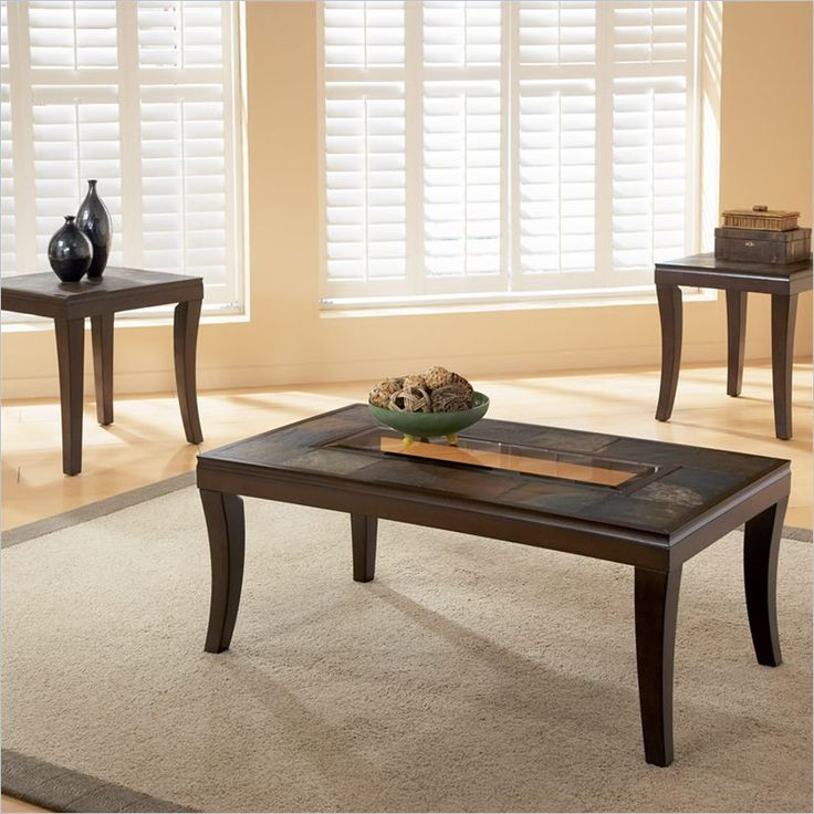 Coffee Table And End Table Sets For Cheap Part - 23: Standard Laguna Coffee And End Table Set W/ Slate Top And Glass Inserts -  27463