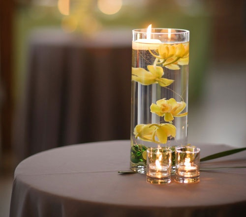 Flowers And Floating Candle Centerpieces With Led Lighting: 17 Best Ideas About Submerged Flower Centerpieces On