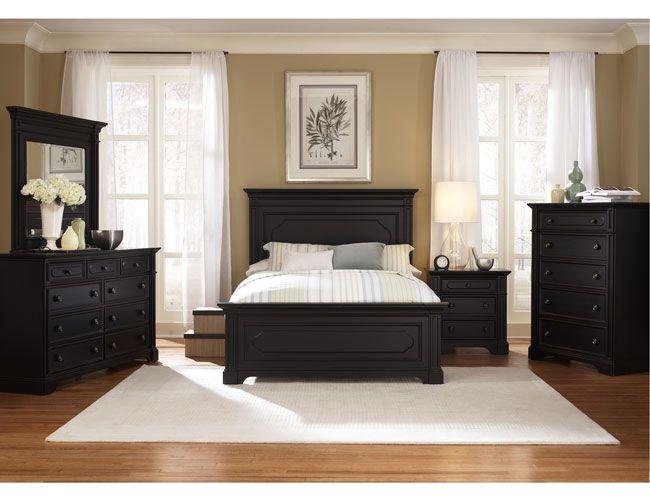 THE FURNITURE :: Black Rubbed Finished Bedroom Set with Panel Bed,  'Southern Cachet