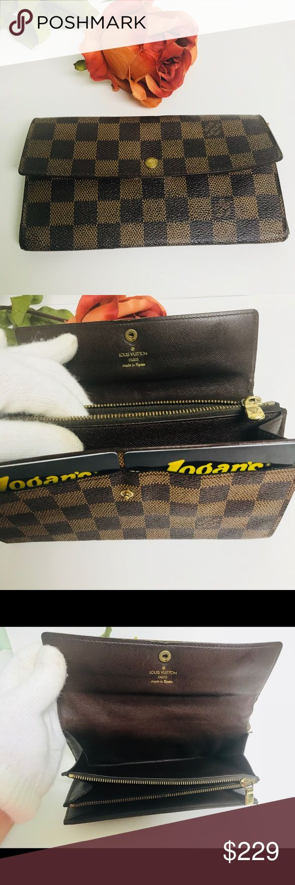 "Louis Vuitton Fortefeiulle Sarah LongBifoldWallet 🌷Date Code :CA 0947 (1997)   🌷$189 free shipping and invoiced 🌷Size: :H 4.1"" W:7.5""xD:1"" 🌷In good condition 🌷good inside 🌷excellent condition for coin pocket 🌷well running zipper 🌷Canvas is good. 🌷did some retouch  🌷few loosened stitches  🌷There is peel on 2 front card pocket 🌷Over all still  functional & ready to used for everyday  🌷Cash or layaway accepted 🌷PayPal or any Credit card payment  Note: 2 credit card outside…"