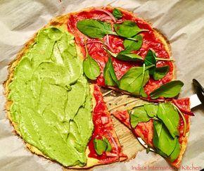 Cauliflower Pizza with tomato free pizza sauce (Paleo, AIP, Vegan) - Indu's International Kitchen