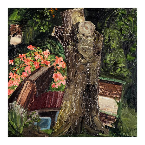 """Attila Richard Lukacs ::  Ackee Tree with Begonia and Bee Boxes, 2014, oil on canvas, 24 x 24"""""""