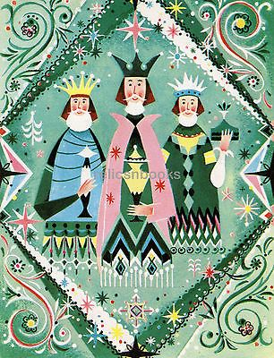 #976 Mid Century Magi, Three Kings, Wise Men, Vintage Christmas Card-Greeting