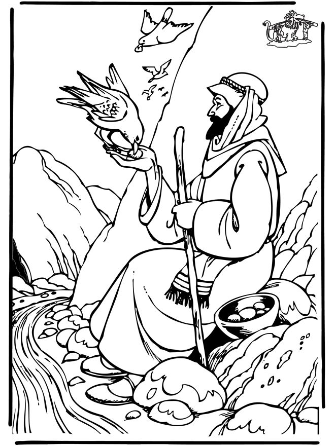 elijah being fed by ravens bible coloring pages - Elijah Bible Story Coloring Pages